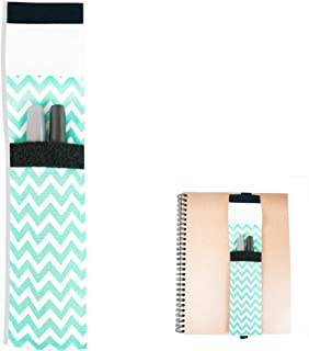 Bookmark Elastic Pen Holder. Planner or Textbook Ribbon Band in Mint Chevron Color. (1 Pack)