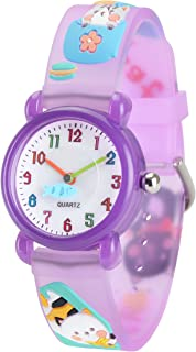 Wolfteeth Grade School Girls Analog Wrist Watch Water Resistant Sport Watch, School Day Gift, 3D Kitten Watchband 3073