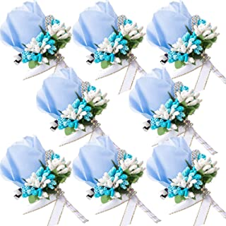 Men Wedding Boutonniere Wedding Flowers Buttonholes Accessories Groom Groomsman Prom Party Suit Decoration (8, Lake Blue)