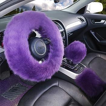 Purple BSRYO 3pcs Set Winter Warm Furry Steering Wheel Cover/&Handbrake Cover/&Gear Shift Cover Set Faux Wool Uinversal Plush Non-Slip Car Interior Accessories