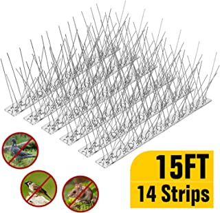 One Sight Bird Spikes for Pigeons Small Birds Cat Cover 15 Feet (14 Pack), Anti Bird Spikes Stainless Steel Bird Deterrent Spikes Repellent Fence Spikes