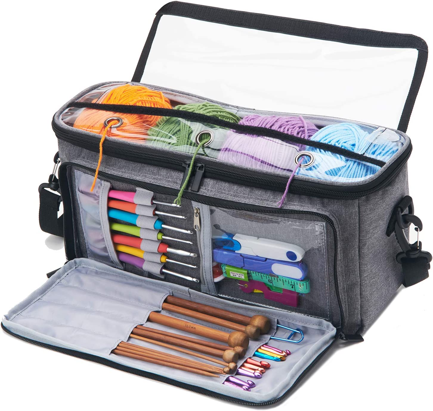 VOSDANS Yarn Large discharge sale Storage Bag Organizer with Knitting B Cheap Tote 3 Holes