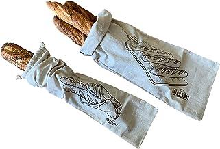 Linen Bread Baguette Bags - 2-Pack 8 x 27 Ideal for Homemade Baguette Bread, Unbleached, Reusable Food Storage, Housewarmi...