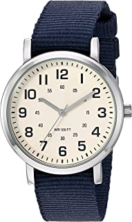 Amazon Essentials Unisex Easy to Read Silver-Tone and Nylon Strap Watch