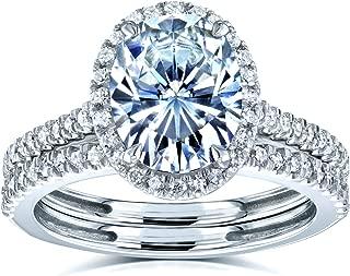 Kobelli Oval Forever One Moissanite Halo Bridal Rings Set 2 3/8 CTW 14k White Gold (DEF/VS, GH/I)