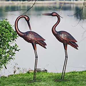 Kircust Crane Garden Sculptures & Statues,Large Size Metal Birds Yard Art,Standing Vintage Brass Heron Animal Lawn Ornament,Outdoor Decorations for Patio,Lawn,Backyard,Pond, 37 Inches,Set of 2
