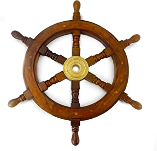 Well Pack Box Wooden Captains Ship Wheel Solid Wood Great Pirate Nautical Look 12 inch