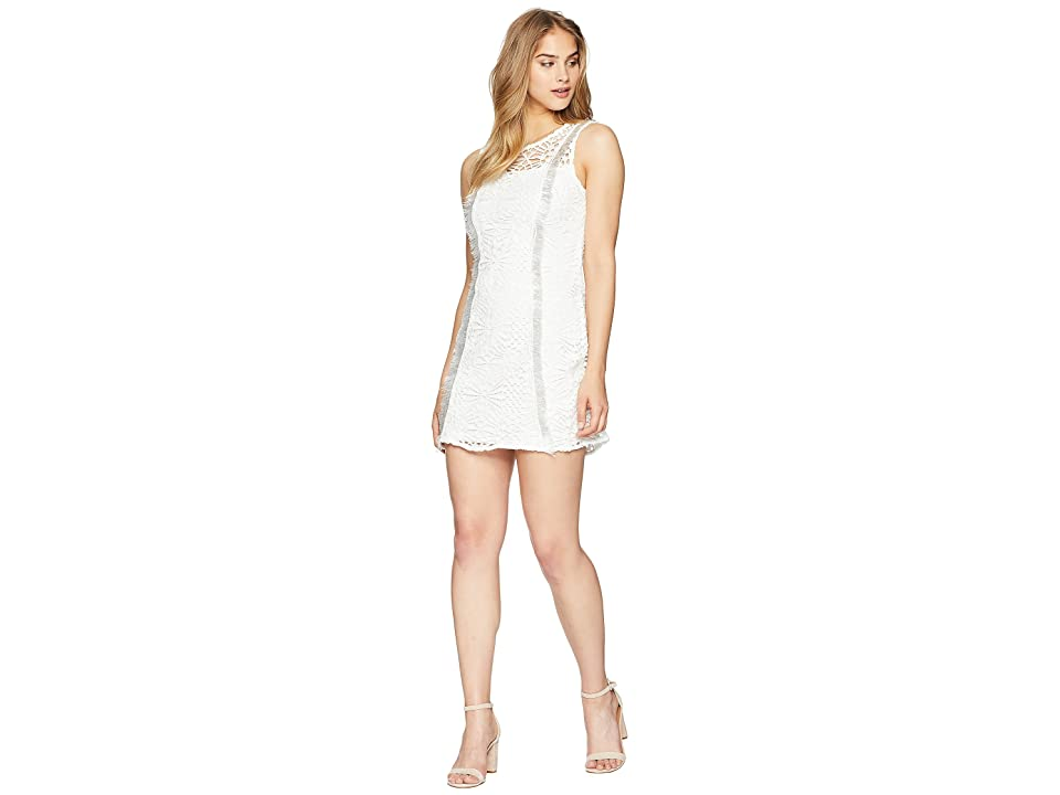 Bebe Lace Fringe Dress (White) Women