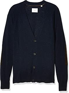 Men's Cashmere Silk Saddle Cardigan Sweater with Leather...
