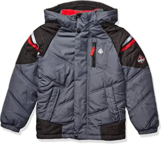 London Fog Boys' Little Active Puffer Jacket Winter Coat,  Grey and Solid Black, 4