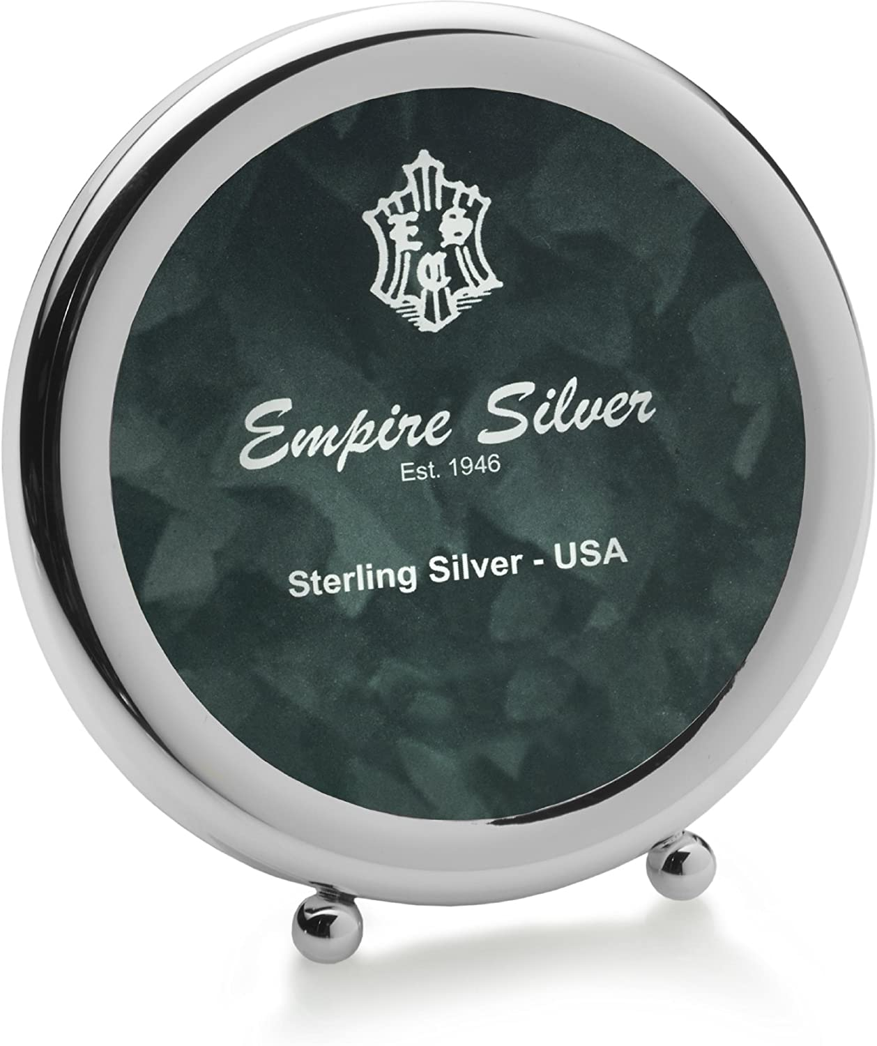 EMPIRE Round Ball Feet Sterling Picture Frame, 3-3 4-Inch