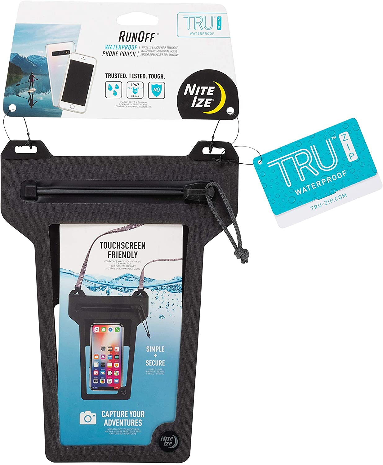 Nite Ize Runoff Waterproof Phone Pouch with Lanyard and Zipper, IP67 Universal Waterproof Case for iPhone 11/11 Pro Max/Xs Max/XR/X/8/8P Galaxy, Charcoal (ROPPL-09-R3)