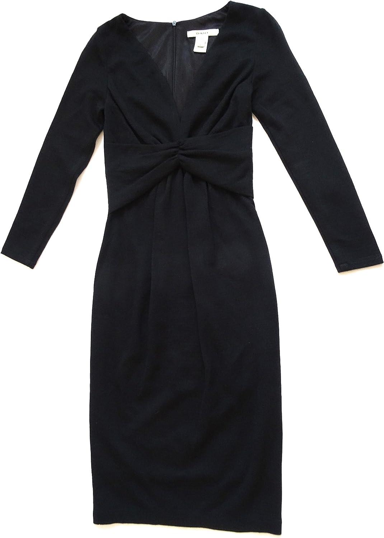 GANT E. DEEP DECOLLETAG Womens Elegant Knee Length Dress D404341005 Black Virgin Wool