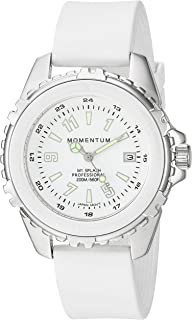Momentum Women's Quartz Stainless Steel and Rubber Diving Watch, Color:White (Model: 1M-DN63WS1W)