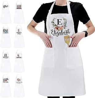 پیش بند آشپزخانه شخصی نام اولیه طرح گل - سفارشی زن زن مرد پیش بند سفید هدایای آشپز آشپزی BBQ کباب پز پیش بند سفید - هدیه برای زنان مرد - پنبه یک جنس ، متن خود را اضافه کنید -C02