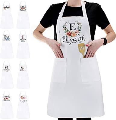 Amazon Com Personalized Kitchen Apron Initial Name Flowers Design Customized Woman Man White Aprons Gift For Chef Cooking Bbq Grill Baking White Aprons Gifts For Women Men Unisex Cotton Add