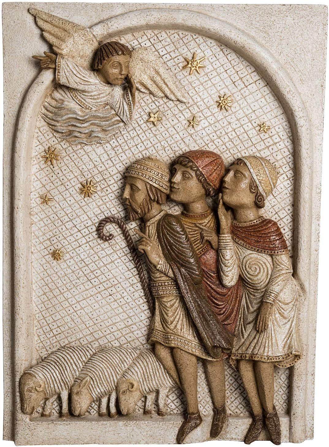 Holyart In stock Big Autumn 2021 autumn and winter new Nativity Scene in Relief bas Stone Shepherds