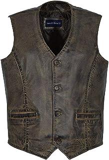 Men Dirty Brown Smart Style Waist Coat Leather Waist Coat