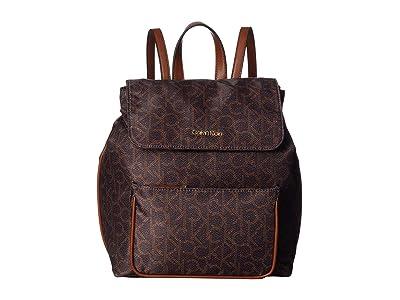 Calvin Klein Abby Nylon Backpack (Brown/Khaki) Backpack Bags