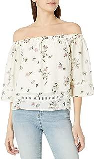 lucca Couture نسائي بدون أكمام مطبوع عليه أزهار بدون أكتاف مع زخرفة.