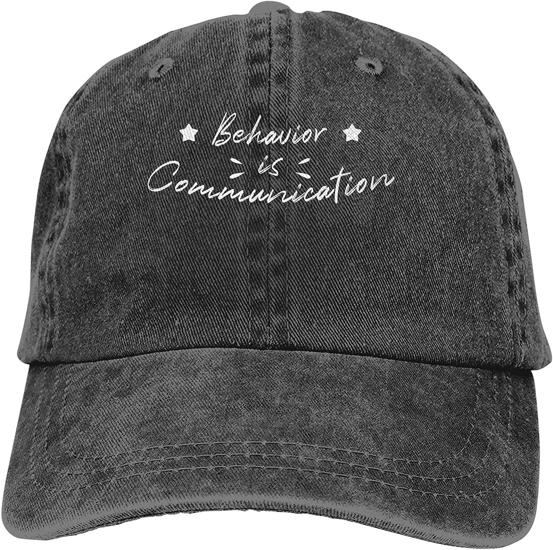 Behavior is Communication Baseball Cap Trucker Hat Retro Cowboy Dad Hat Classic Adjustable Sports Cap for Men&Women Black