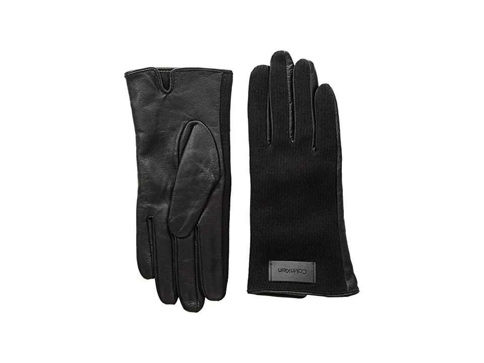 Calvin Klein Knit and Leather Gloves (Black) Extreme Cold Weather Gloves