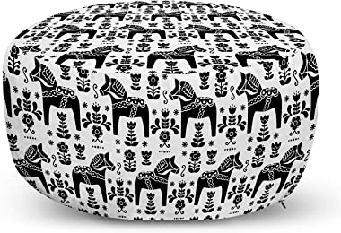 Ambesonne Nordic Ottoman Pouf, Swedish Folk Art with Dalecarlian Horse Silhouettes and Ornate Flower Motifs, Decorative Soft Foot Rest with Removable Cover Living Room and Bedroom, Black and White