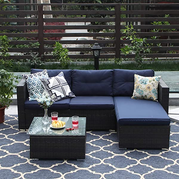 PHI VILLA 3 Piece Patio Furniture Set Rattan Sectional Sofa Wicker Furniture Blue