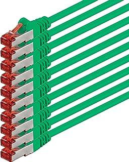 Nätverkskabel Cat 6 (3m - grön - 10 delar) Ethernet-kabel Cat-kabel Lan-kabel Cat6 (SFTP PIMF) dubbelskärmad Patchkabelupp...
