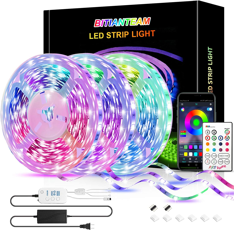 50ft LED Strip Lights,BITIANTEAM LED Lights Bluetooth Music Sync