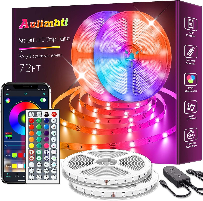 72ft/22m Led Strip Lights, Smart Led Light Strips Music Sync 5050 RGB Color Changing led Strip,Bluetooth APP/IR Remote/Switch Box Control Led Lights for Bedroom,led Room Lights,Party,Festival