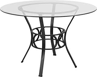 Flash Furniture Carlisle 45`` Round Glass Dining Table with Black Metal Frame