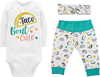 Taco Bout Cute Girl Infant Baby Outfit with Bodysuit, Yoga Pants, and Headband