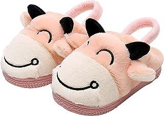 Apakowa Boys Girls Warm Slippers Cartoon Kids Winter Indoor Household Shoes (Toddler/Little Kid)