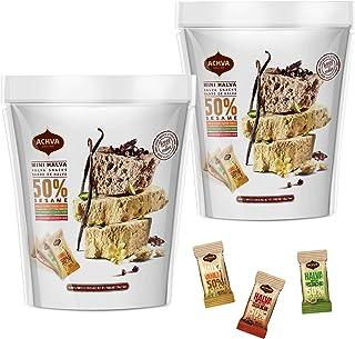 Halva Tahini Bar Mini Snacks – Assortment of 2 Bags Each Contains - 18 Snack-Sized Halvah Pistachio, Vanilla, and Cocoa Be...