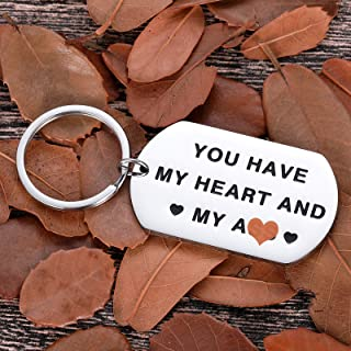 Valentine Day Gifts Keychain for Him Husband Boyfriend Christmas You Have My Heart and My As Anniversary Birthday Gifts for Man Fiance Groom Engagement Wedding Couple Gifts Gag Present from Her