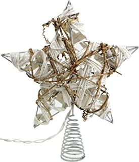 SAM + Ollie Rustic Christmas Tree Topper Star, 10 Light Indoor White Rattan Natural Grapevine