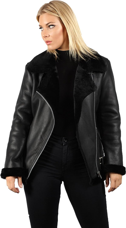 Women's Black Real Shearling Sheepskin Aviator Pilot Leather Jacket