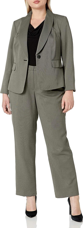Le Suit Women's Plus Size 1 Button Shawl Collar Dashed Two Tone Novelty Pant Suit