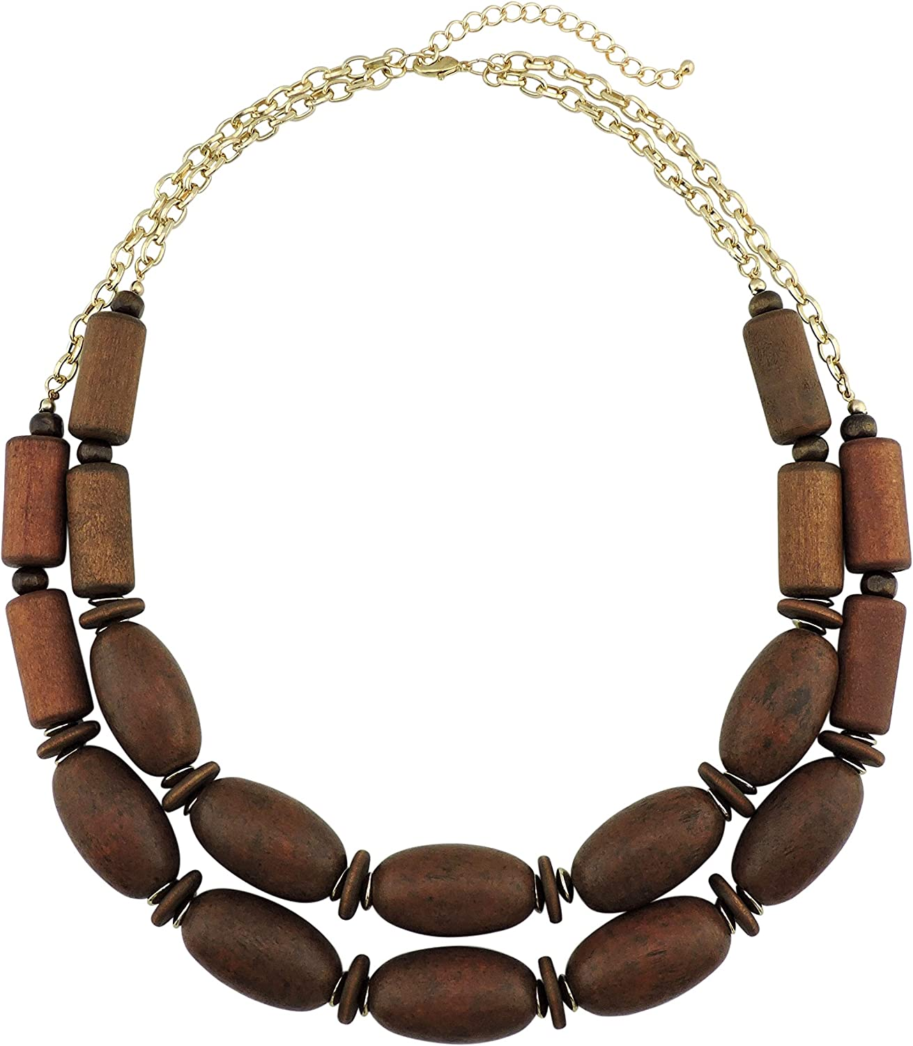 BOCAR 2 Layer Statement Chunky Beaded Collar wholesale Neckla Wood Now on sale Fashion