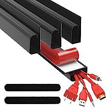 J Channel Cable Raceways - Black Raceway Cable Management System - 4x 16'' Cable Channels for Cord Management Under Desk. ...