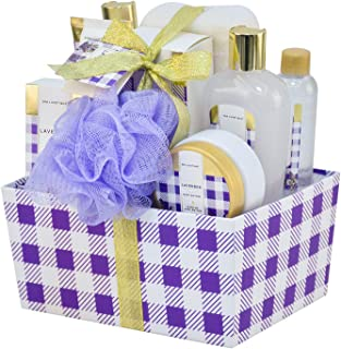 Spa Luxetique Bath Spa Gift Basket Lavender Fragrance, Premium 10pc Gift Baskets for Women, Home Spa Gift Set with Soap, Body Butter, Hand Soap, Bath Puff, Body Lotion, Best Gift Set for Women.