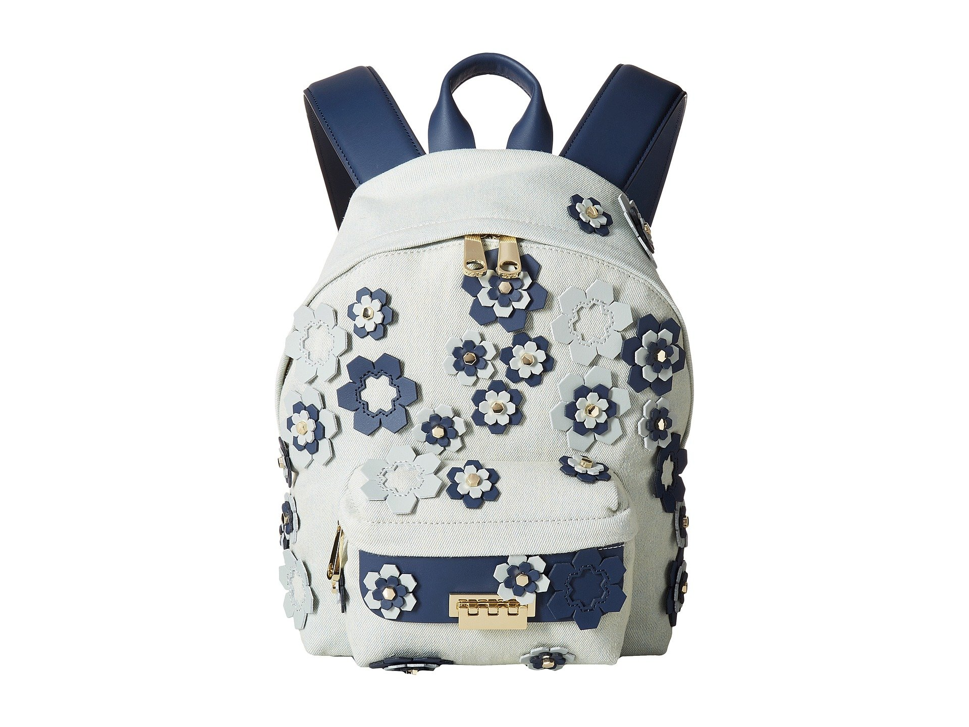 Mochila para Mujer ZAC Zac Posen Eartha Iconic Denim Small Backpack with Hex Floral Applique  + ZAC Zac Posen en VeoyCompro.net