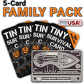 Tiny Survival Card: A 17-Tool Survival Kit with Knife That Fits in Your Wallet - Ultimate EDC, Multitool Card for Your Wallet - Great Gift!