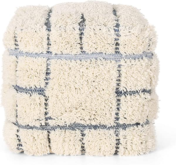 Great Deal Furniture Heidi Boho Wool And Denim Pouf Blue And White