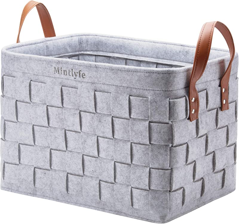 Felt Woven Storage Basket With PU Handles Foldable Handmade Collapsible Storage Basket Bins Large Organizer For Kids Toys Bedrooms Clothes