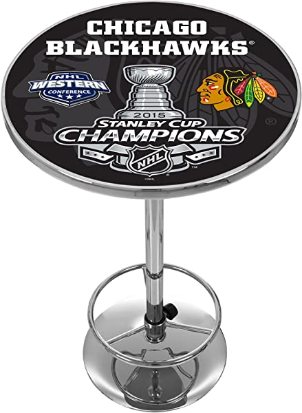 Trademark Gameroom 2015 Stanley Cup Champs Chicago Blackhawks Chrome Pub Table