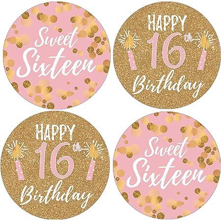 16th Birthday Party Favors For Adults \u2013 324 PINK GLITTER Hershey Kiss Sticker Birthday \u2013 Sweet 16 Birthday Decorations Birthday D\u00e9cor 12719