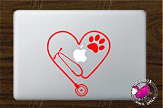 Stethoscope Heart PAW Cutout (RED) Vinyl Decal Stickers for MacBook Laptop Car Nursing Tough Strength Strong Strength Hope Inspiration Love Doctor Nurse Veterinarian Health Medicine Hospital Med School Vet Tech Dog Cat Bird Pets Adopt Shelter Animal Hospital Print