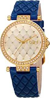 Women's Diamond & Crystal Accented Quilted Design Dial and Genuine Leather Strap Watch - BUR154